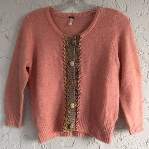 FREE PEOPLE Peach Button Down Sweater Cardigan M